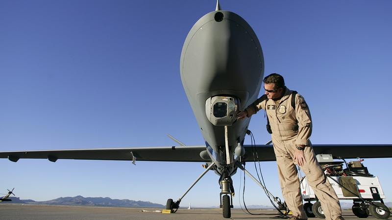 A Worker Checks The Camera On Predator Drone At Fort Huachuca Ariz Before 2007 Mission